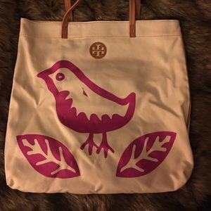 Tory Burch canvas bird tote